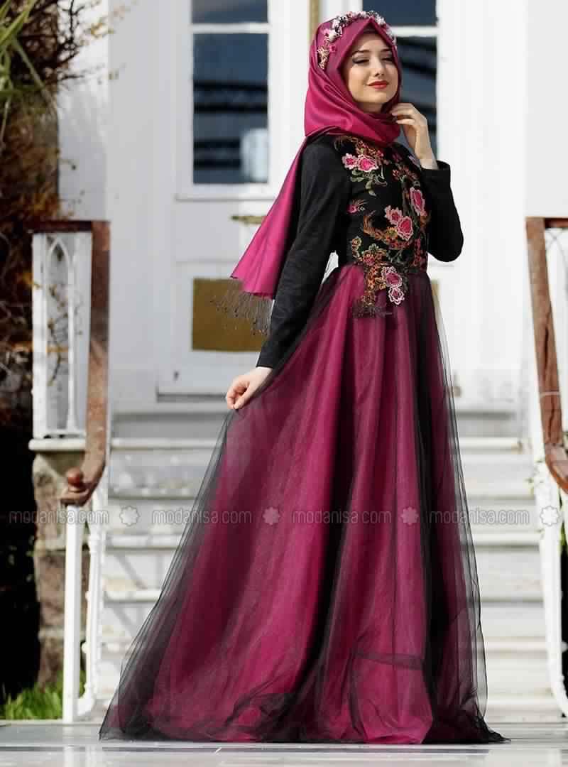 Modele de robe soiree pour femme voilee