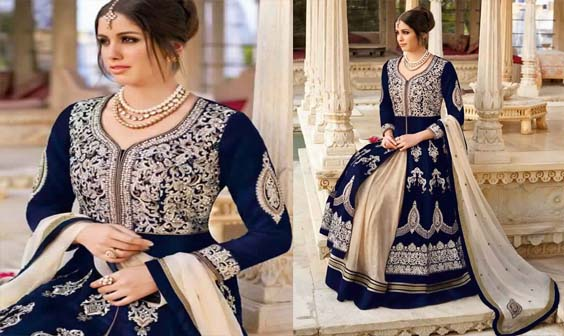 Saree Indien Bleu Et Beige1