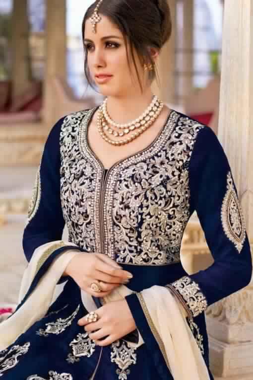 Saree Indien Bleu Et Beige2