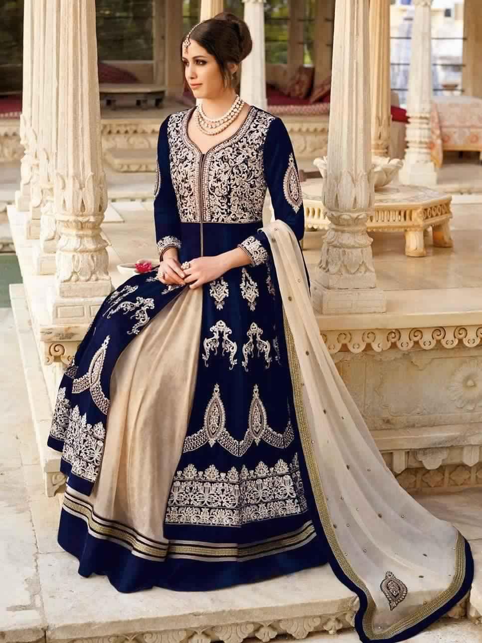 Saree Indien Bleu Et Beige3