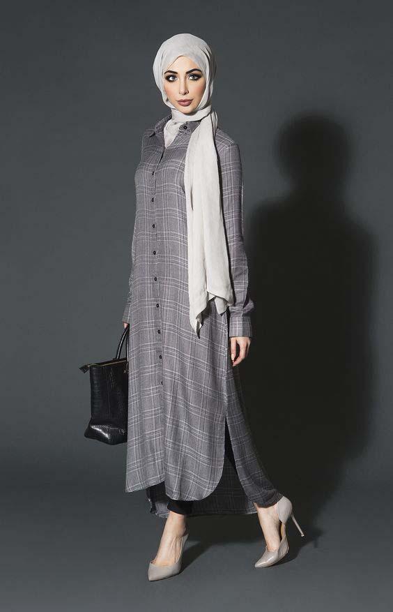 comment porter la robe chemise avec le hijab 26 styles inspirants et tendance t astuces hijab. Black Bedroom Furniture Sets. Home Design Ideas