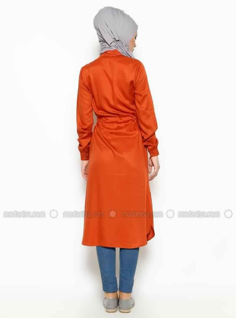 Tunique Longue En Orange Pour Hijab Chic Et À Prix Doux!