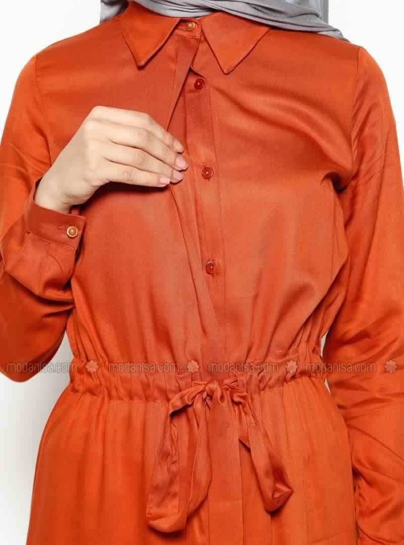 Tunique Longue En Orange Pour Hijab Chic Et À Prix Doux! 2