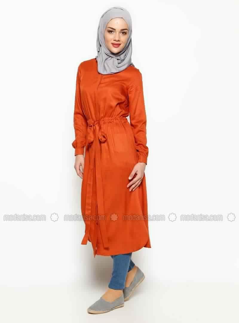 Tunique Longue En Orange Pour Hijab Chic Et À Prix Doux! 3