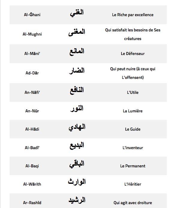Islam- Les 99 noms de Dieu et leurs significations.9
