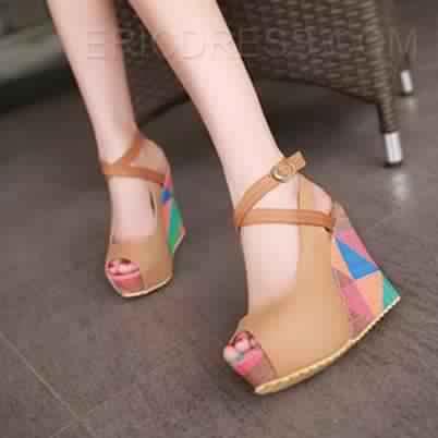 Sandale compensée multicolore 1