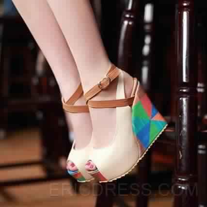 Sandale compensée multicolore 2