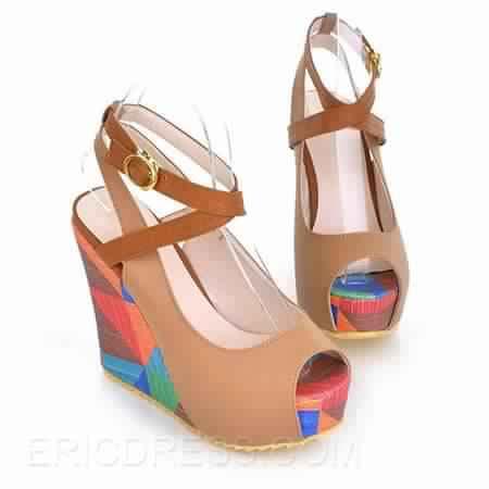 Sandale compensée multicolore 5