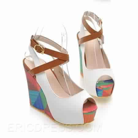 Sandale compensée multicolore 6