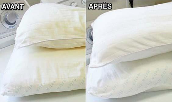comment laver les oreillers jaunis obtenez des oreillers blancs comme neige zapping web. Black Bedroom Furniture Sets. Home Design Ideas