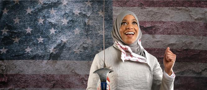 Première Athlète américaine à porter un Hijab au JO6