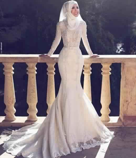 Mariée Pour Astuces Hijab De Voilée Femme Mariage Robe 4xEtwFacq