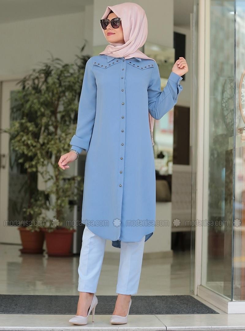 tunique longue en jean astuces hijab. Black Bedroom Furniture Sets. Home Design Ideas