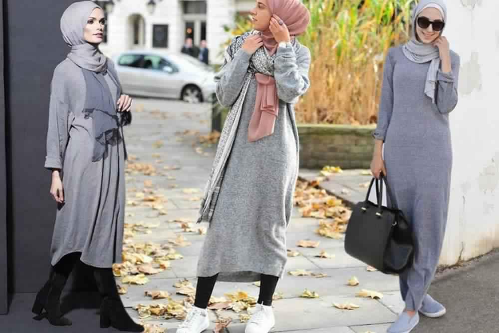 Styles Hijab de couleur Gris