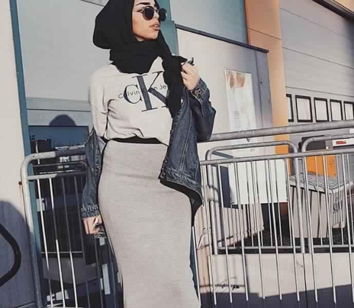 Styles Hijab de couleur Gris2