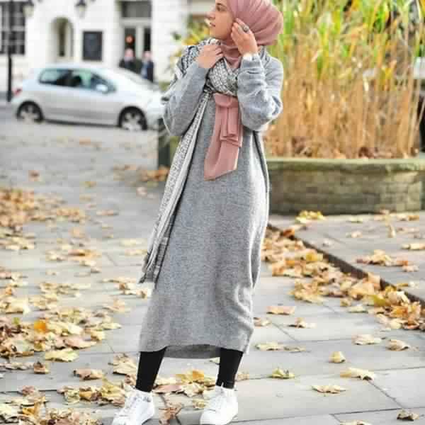 Styles Hijab de couleur Gris3