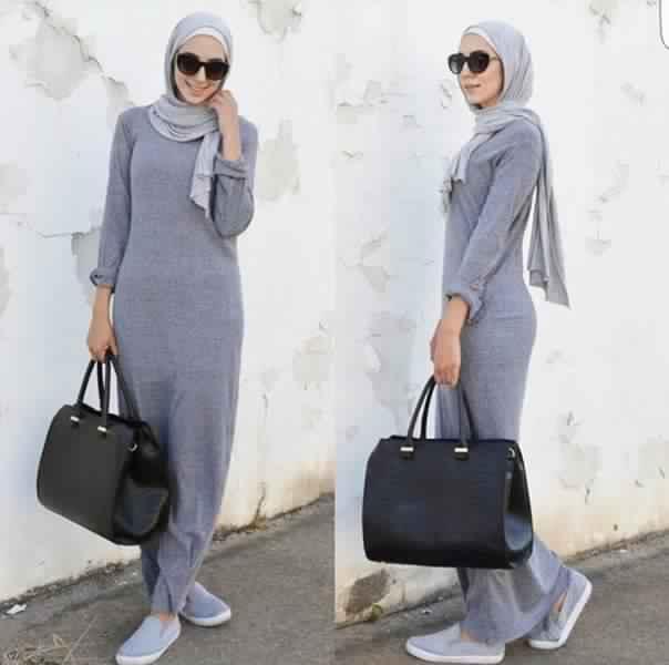 Styles Hijab de couleur Gris4