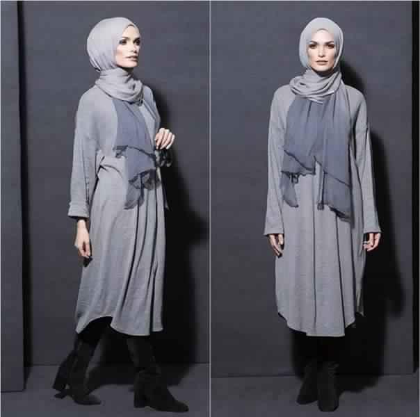 Styles Hijab de couleur Gris5