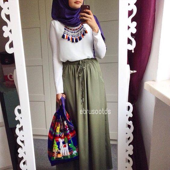 Extrêmement Comment Porter La Jupe Longue Avec La Hijab : Voici 30 Modèles  CX59